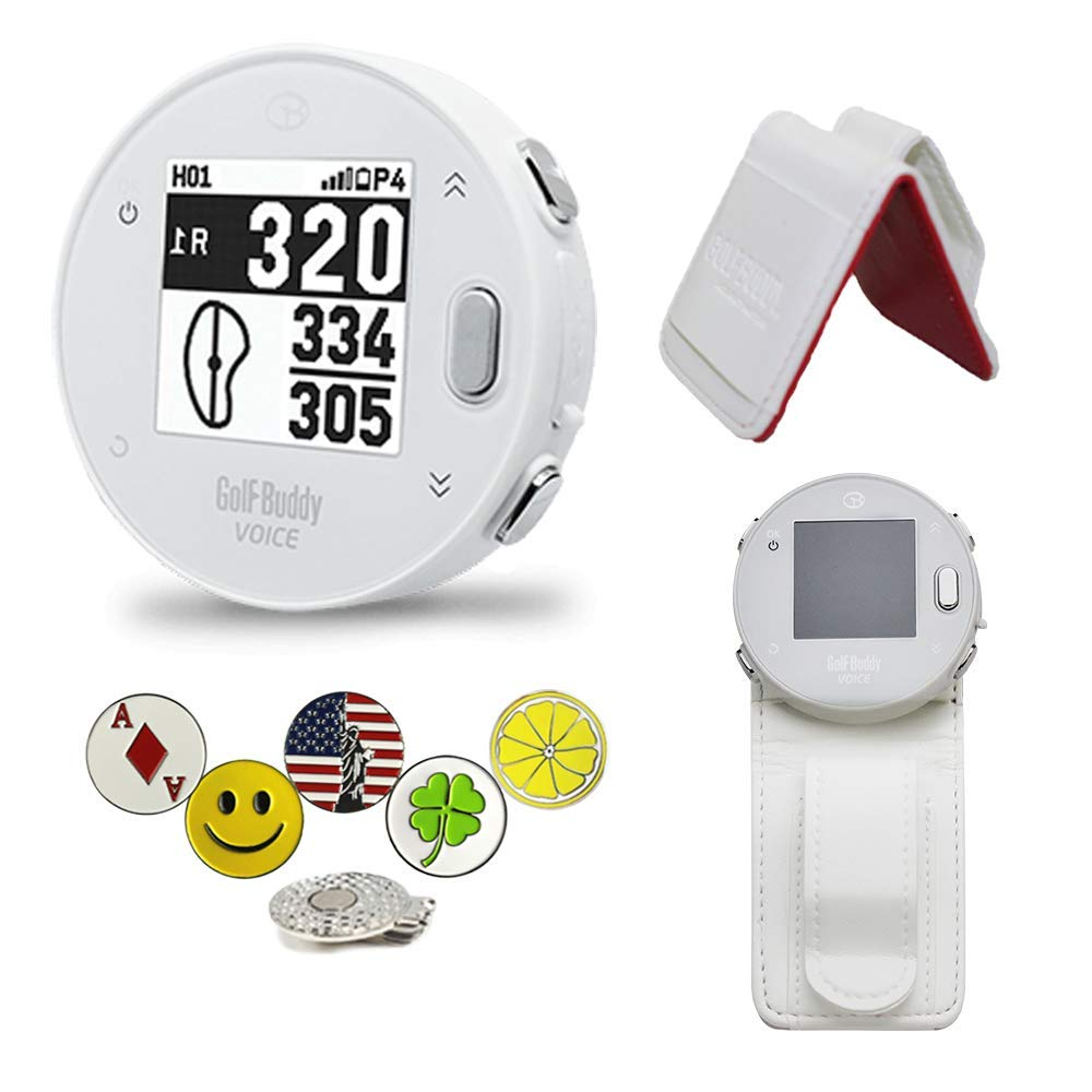 GolfBuddy Voice X GPS/Rangefinder Bundle with Belt Clip, 5 Ball Markers and 1 Magnetic Hat Clip