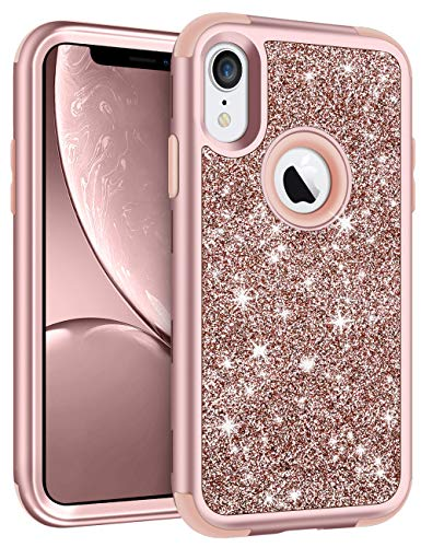 Vofolen Bling Case for iPhone XR Case iPhone 10R Cover Glitter Full-Body Protection Heavy Duty Hybrid Protective Hard Shell Silicone Rubber Armor with Front Frame Bumper for iPhone XR 10R (Rose Gold) ()