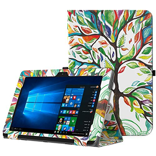 MoKo ASUS Transformer Book T101HA Case, Slim Folding Stand Cover Case with Built-in Hand Strap and Keyboard Portfolio Feature for 10.1 ASUS Transformer Book T101HA Tablet 2016 Release, Lucky Tree