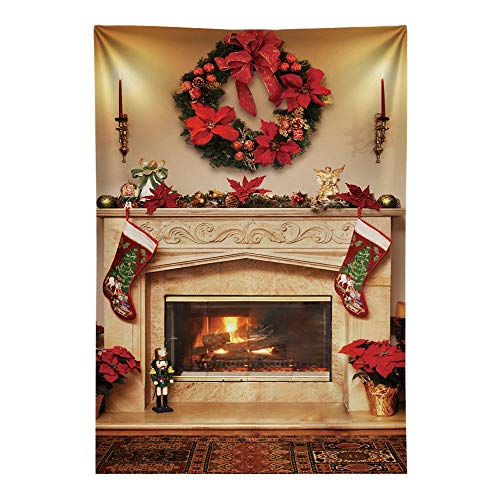 Funnytree 6x8ft Durable Fabric Winter Christmas Fireplace Photography Backdrop No Wrinkles Interior Vintage Merry Xmas Party Background Stockings Baby Portrait Banner Decorations Photo Booth Studio