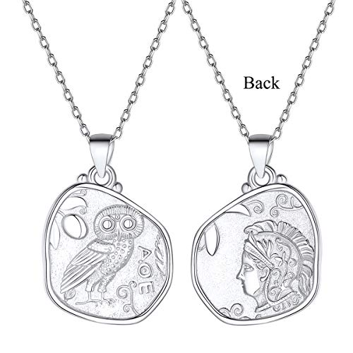 Silver Vintage Athena & Owl Irregular Greek Coin Necklace, 925 Sterling Silver Dainty Goddess of Wisdom Pendant Necklace Greek Mythology Jewelry for Women Men