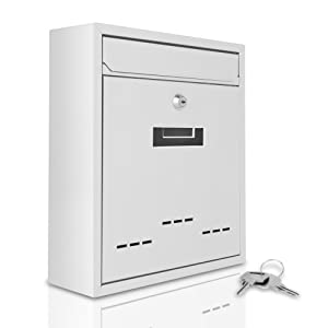 Serenelife Modern Wall Mount Lockable Mailbox - Outdoor Galvanized Metal Key Large Capacity - Commercial Rural Home Decorative & Office Business Parcel Box Packages Drop Slot Secure Lock SLMAB04 White