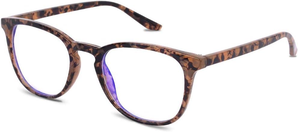 Vimbloom Gafas Ordenador Gaming UV Luz Filtro Proteccion Azul Mujer Hombre Para Antifatiga Gafas Luz Azul VI387 (Tortuga)