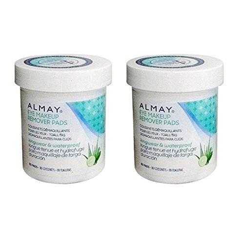 Almay Longwear & Waterproof Eye Makeup Remover Pads, 80 Count(Pack of 2) Packaging may vary