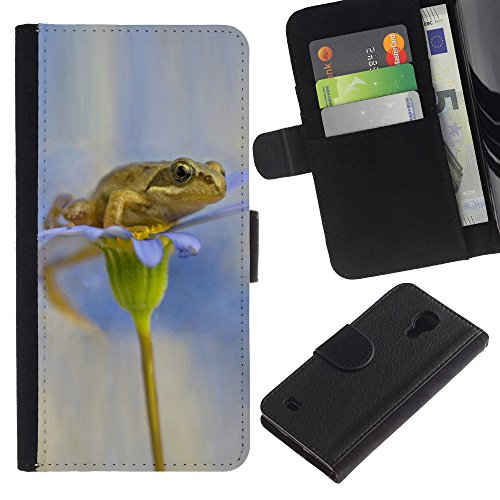 For SAMSUNG Galaxy S4 IV / i9500 / i9515 / i9505G / SGH-i337,S-type® Flower White Snow Anemone - Drawing PU Leather Wallet Style Pouch Protective Skin Case (Anemone Pouch)