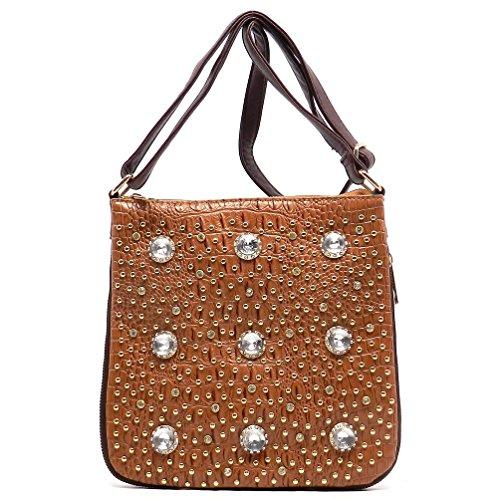 Rodeo No. 165 Crystal Studded Evening Cross Body Bag Handbag (Coffee)