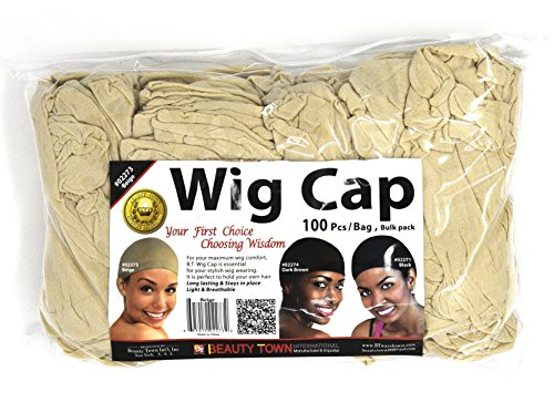 Beauty Town Wig Cap 100 Pieces Bulk Bag - Beige, Secures your hair, long lasting, stays in place, light, lightweight, breathable, wig comfortable,]()