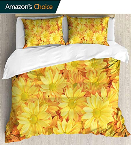 Yellow Flower Full Queen Duvet Cover Sets,Lively Daisies Fresh Bouquets with Natural Seasonal Bedding Plant Petals 100% Cotton Reversible 3 Pieces Kids Girls Boys Bedding Sets 90