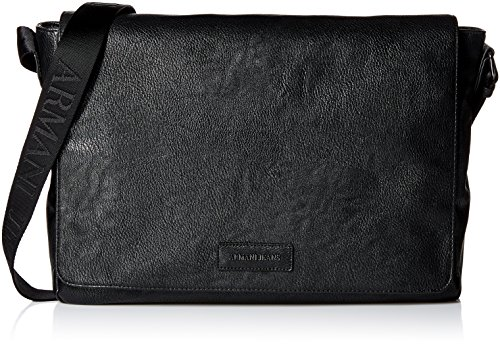 Armani Exchange Men's Pu Logo Patch Messenger Bag, Black by A|X Armani Exchange