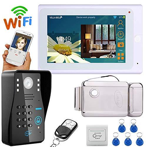 Wired/Wireless WiFi RFID contraseña video puerta teléfono timbre sistema de Intercom con cerradura de puerta electrónica +...