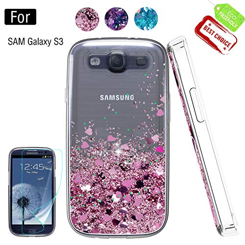 Galaxy S3 Phone Case, Galaxy S3 (S III I9300 GS3) Cases with HD Screen Protector for Girls Women, Luxury Glitter Diamond Quicksand Clear TPU Protective Phone Case for Samsung Galaxy S3 Pink -