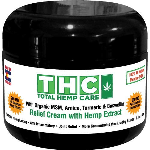 200mg Premium full-spectrum hemp extract pain relief cream. Rich in naturally occurring phytonutrients CBC, CBG, Terpenes skillfully blended with organic MSM, Arnica, Turmeric & Boswellia by Total Hemp Care