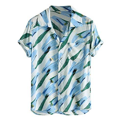 - kaifongfu Summer for Mens Hawaiian Shirt Floral Print Short Sleeve Funky Button Down Graphic Dress Shirts(Blue,XXXL)