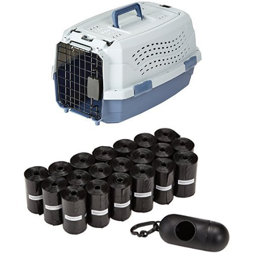19-Inch AmazonBasics 19-Inch Two-Door Top-Load Pet Kennel with 300 Pack AmazonBasics Dog Waste Bags