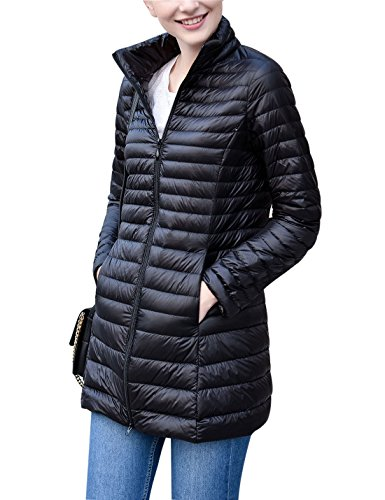Imbottito Packable Giacca Delle Yeokou Lungo Donne Cappotto Ha Sottile Giù Nera Peso Puffer n5YPPgwqtT
