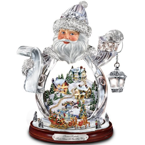 Thomas Kinkade Santa Claus Tabletop Crystal Figurine: Santa Claus Is On His Way by The Bradford Exchange