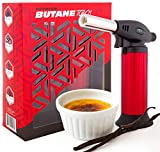 Butane Torch Lighter Refillable - Child Proof Lock - Professional Kitchen Hand Culinary Chef Mini Blow Torch - Perfect for Cooking, Food Melting, Sear, Creme Brulee, Glaze, Char, Baking.