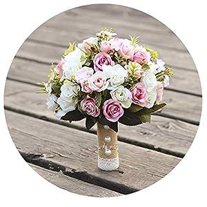 WodCht Beautiful Wedding Bouquet Handmade Artificial Flower Rose Bouquet Bridal Bouquet for Wedding Decoration 83