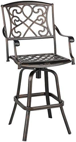 YAHEETECH Outdoor Cast Aluminum Patio Chair 360 Degree Swivel Bar Stool Patio Furniture Antique Copper Design