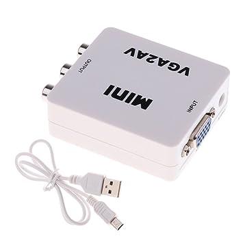 CVBS Audio to PC HDTV Converter Composite Adapter Converter 1080P HDMI VGA to RCA AV with 3.5mm Audio VGA2AV