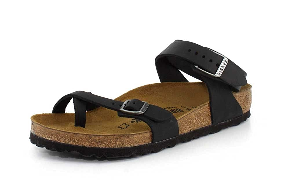 86d0bbb23c79 Details about Birkenstock Women s Yara Black Oiled Leather Sandals
