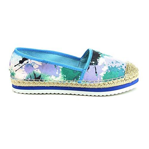 C Label Comfort-slip Atami-1 Dames Espadrille Platte Schoenen, Blauw, 7