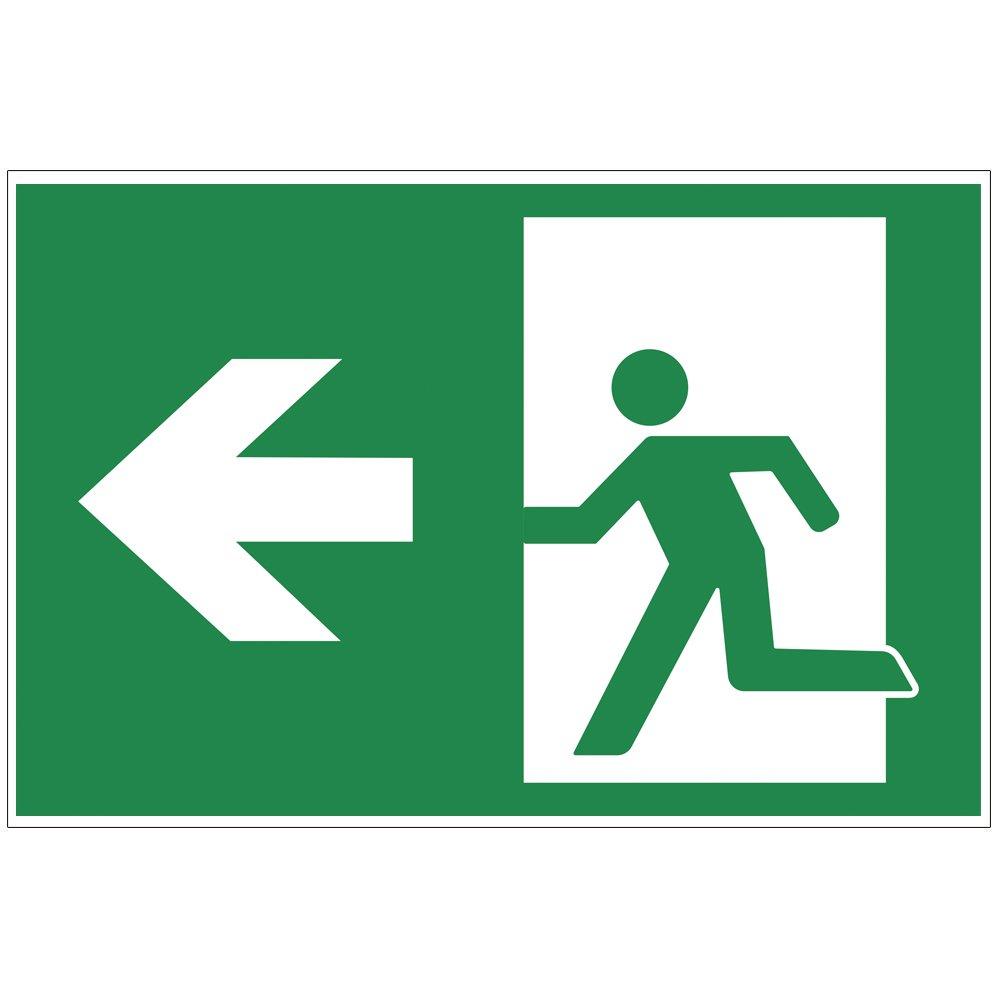 'Cartel 'salida de emergencia Izquierda –  Exit de aluminio/Dibond 300 x 200 mm –  3 mm de grosor geschenke-fabrik