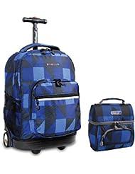 J World New York Sunrise Rolling Backpack & Corey Lunch bag Set (Block Navy)