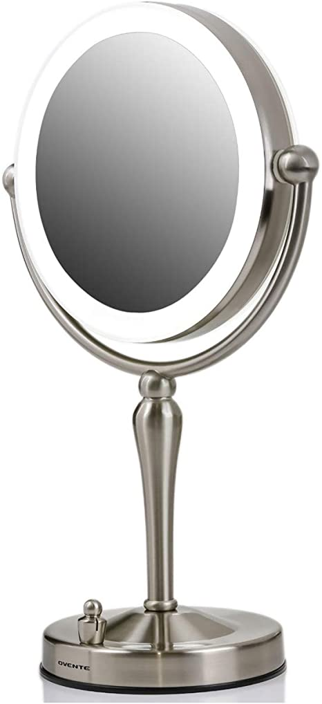 Amazon Com Ovente Double Sided Lighted Table Top Makeup Mirror 7 5 Inch 1x 10x Magnifier 360 Degree Rotating Acrylic Edge Dimmable Led Battery Usb Adapter Operated Stand Circle Large Nickel Brushed Mkt75br1x10x Beauty
