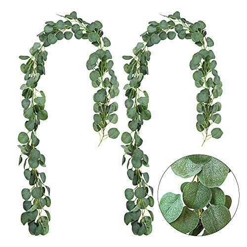AGEOMET 2 Pack Artificial Vines Silk Eucalyptus Garland Greenery Faux Silver Dollar Eucalyptus for Wedding Backdrop Arch Decor