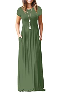 c2458977fd71 AUSELILY Women Short Sleeve Loose Plain Casual Long Maxi Dresses with  Pockets