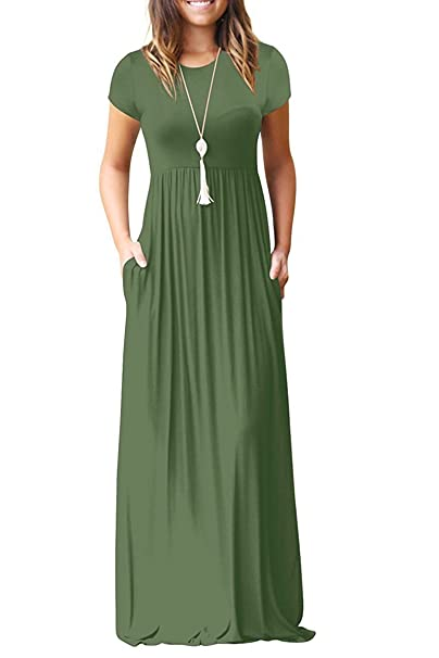 c9cef24f6140 AUSELILY Women Short Sleeve Loose Plain Casual Long Maxi Dresses with  Pockets (S, Army
