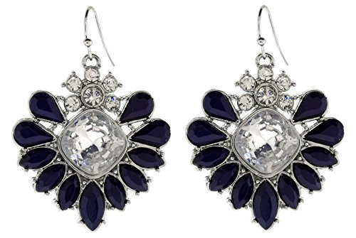 Silver-Tone Rhinestone Earrings with Navy Blue Faceted (Silver Tone Rhinestone Earrings)