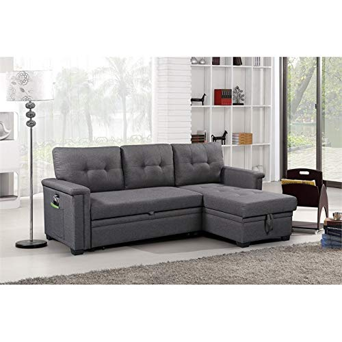 Ashlyn Gray Reversible Sleeper Sofa Storage Chaise with USB Charging Ports