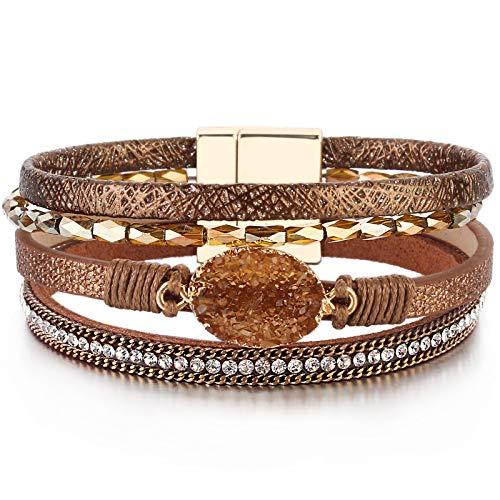 FANCY SHINY Leather Wrap Bracelet Boho...