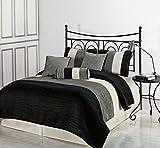 Cozy Beddings 7-Piece Amber Jacquard Comforter Set, Queen, Black/Silver/Cream