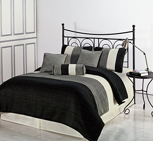 Cozy Beddings, Amber QUEEN Size Bed 7 piece Jacquard Comforter Set Black, Silver, Cream Metallic Color Fused Pleating Stripes Bed Cover ()