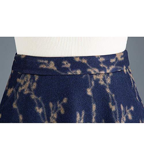 Oficina Blue line Plisada Vintage Mujer Falda Lana Talle Floral Trabajo De Para A Niais Alto Invierno pZS1qvwq