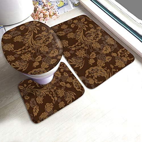 ASQWEL トイレマット3点セットFlower Brown Background Pattern 便座カバー U型O型トイレ兼用フタカバー ト 北欧 足元マット フワフワ断熱 抗菌 やわらか ふく楽 トイレ マット オフホワイト(トイレマット&フタカバー&便座カバー セット)