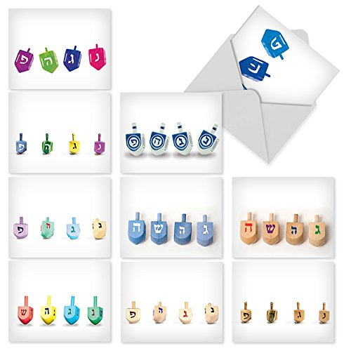 10 Boxed 'Great Dreidels' Assorted Hanukkah Note Cards (Size...