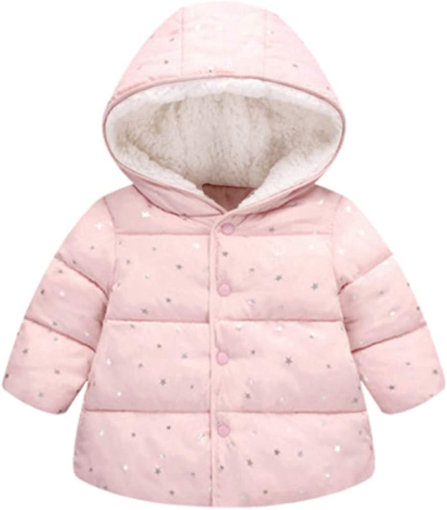 Tronet Kids Baby Boys Girls Winter Hooded Jacket Tops Fashion Casual Star Print Coat