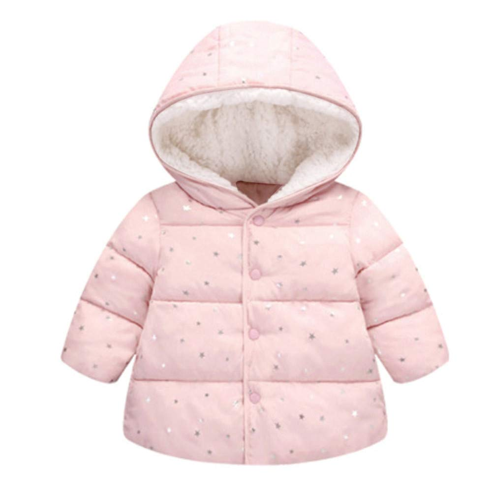 ❤️Mealeaf❤️ Baby Boys and Girls Clothes with Children Girl Outerwear Winter Hooded Winter Jacket Fashion Kids Star Coat Cloth (2-3 Years Old, Pink)