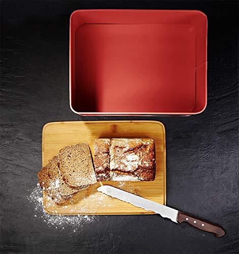 Lumaland Cuisine panera en Metal con Tapa en bambú, Rectangular, Rojo, ca. 30,5 x 23,5 x 14 cm