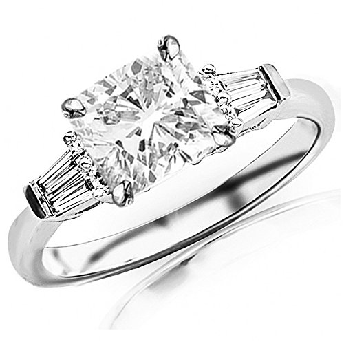 14K White Gold 1.85 CTW Prong Set Round And Baguette Diamond Engagement Ring w/ 1.5 Ct GIA Certified Cushion Cut E Color VS2 Clarity Center