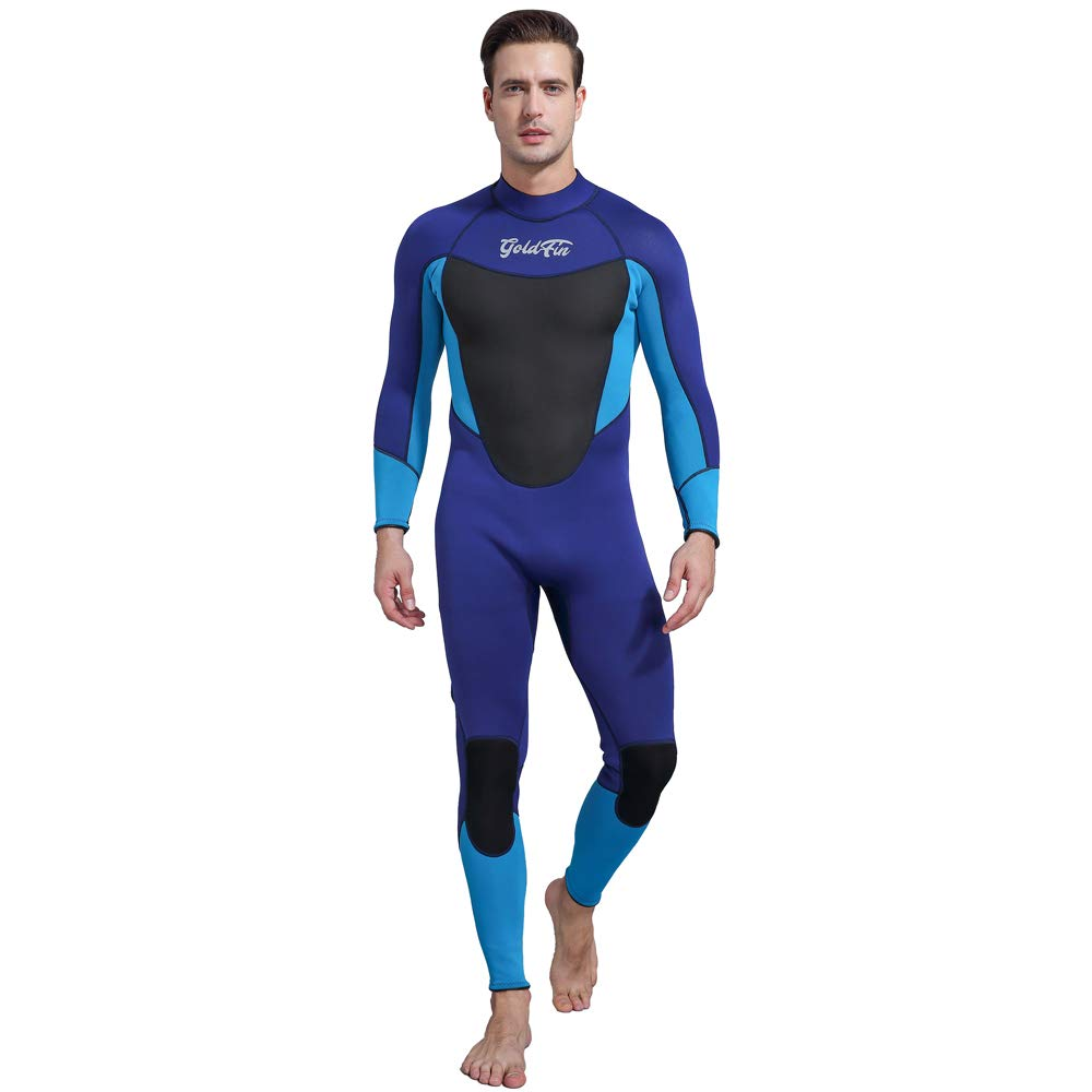 GoldFin Mens Wetsuits 3/2mm Neoprene Full Suit- Thermal Swim Suit Back Zip Long Sleeve for Diving Surfing Snorkeling, SW025 (Navy, L) by GoldFin