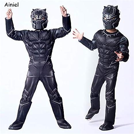 Desconocido Ainiel - Disfraz para niños, diseño de Pantera Negra, para Disfraz de Capitán Americano de Guerra Civil, superhéroe, Fiesta de Halloween, ...