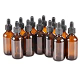 12 Pack 1oz 1 oz Amber Glass Dropper Bottle Bottles with Black Cap and Glass Droppers.Using for Essenils,Lab Chemicaltial Os,Colognes,Perfumes & Other Liquids.Free 12 Chalk Labels