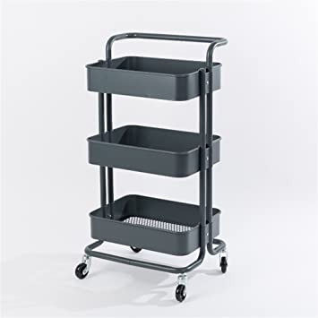 Xiaolvshanghang Hors 3 Tier Mobile Trolley Regal Metall Kuche Regal