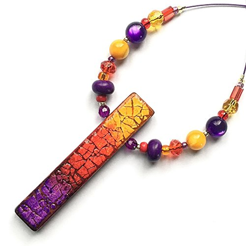 Amber Red Violet Eggshell Mosaic Necklace - Multi Amber Mosaic Glass