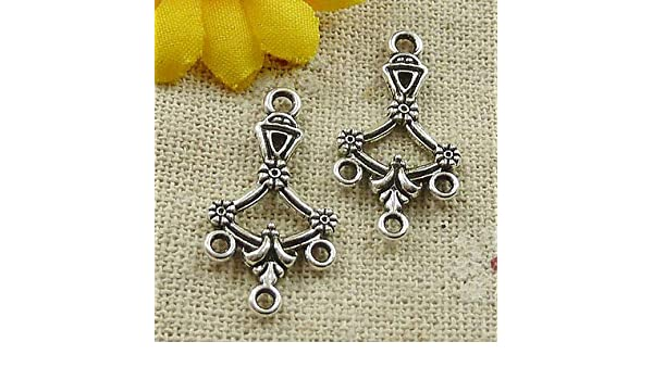 Free Ship 180pcs tibetan silver flower earring connectors 27x14mm #4631